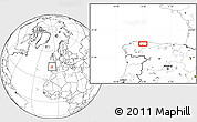 """Blank Location Map of the area around 43°27'40""""N,6°43'29""""W"""
