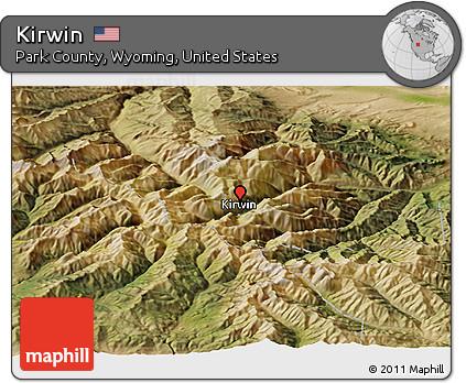 Kirwin Wyoming Map.Free Satellite Panoramic Map Of Kirwin