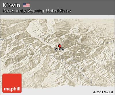 Kirwin Wyoming Map.Free Shaded Relief Panoramic Map Of Kirwin