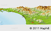 """Physical Panoramic Map of the area around 43°53'30""""N,10°16'30""""E"""