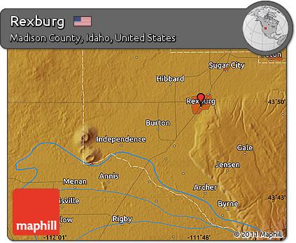 Free Physical Map of Rexburg