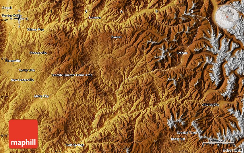 Physical Map of Idaho City