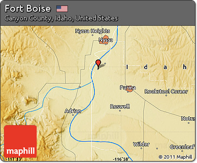 Free Physical Map of Fort Boise