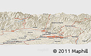 """Shaded Relief Panoramic Map of the area around 43°53'30""""N,11°7'30""""E"""