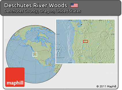 Free Savanna Style Location Map of Deschutes River Woods