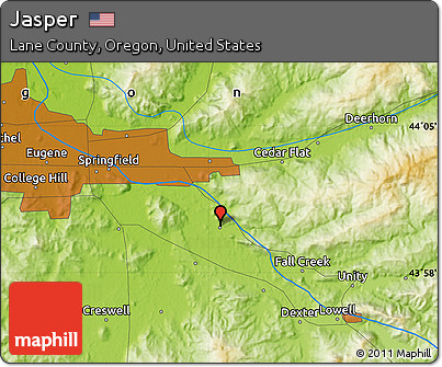 Free Physical Map Of Jasper - Map of jasper oregon