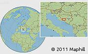 "Savanna Style Location Map of the area around 43°53'30""N,17°4'30""E"