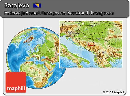 Physical Location Map of Sarajevo