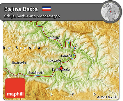 Free Physical Map Of Bajina Basta
