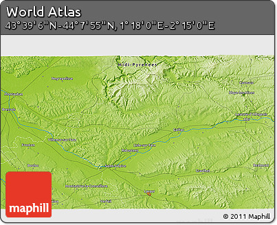 """Physical 3D Map of the Area around 43°53'30""""N,1°46'29""""E"""