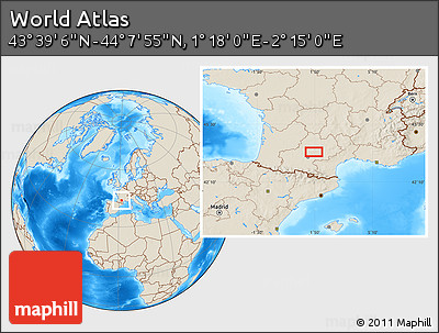 """Shaded Relief Location Map of the Area around 43°53'30""""N,1°46'29""""E"""