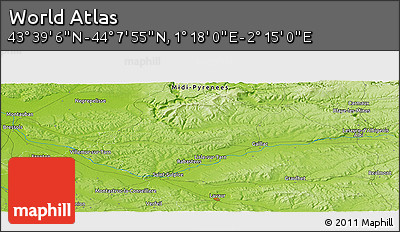 """Physical Panoramic Map of the Area around 43°53'30""""N,1°46'29""""E"""