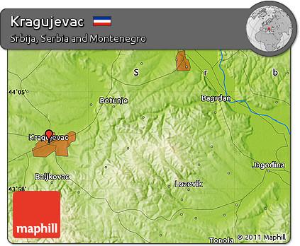 Free Physical Map of Kragujevac