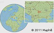 "Savanna Style Location Map of the area around 43°53'30""N,23°1'29""E"