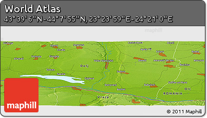 """Physical Panoramic Map of the Area around 43°53'30""""N,23°52'30""""E"""