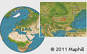 """Satellite Location Map of the area around 43°53'30""""N,25°34'30""""E"""