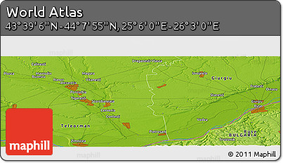 """Physical Panoramic Map of the Area around 43°53'30""""N,25°34'30""""E"""