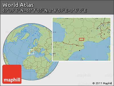 "Savanna Style Location Map of the Area around 43°53'30""N,2°37'30""E"