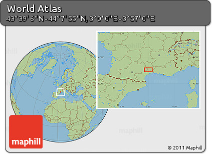 "Savanna Style Location Map of the Area around 43°53'30""N,3°28'30""E"
