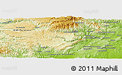 """Physical Panoramic Map of the area around 43°53'30""""N,3°28'30""""E"""