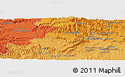 """Political Panoramic Map of the area around 43°53'30""""N,3°28'30""""E"""
