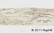 """Shaded Relief Panoramic Map of the area around 43°53'30""""N,3°28'30""""E"""