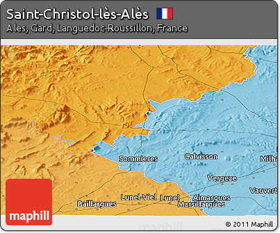 Political Panoramic Map of Saint-Christol-lès-Alès