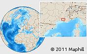 Shaded Relief Location Map of L'Isle-sur-la-Sorgue