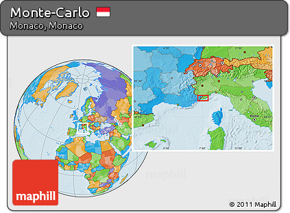 Free Political Location Map of MonteCarlo