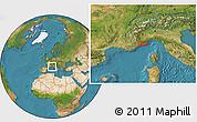 Satellite Location Map of Menton