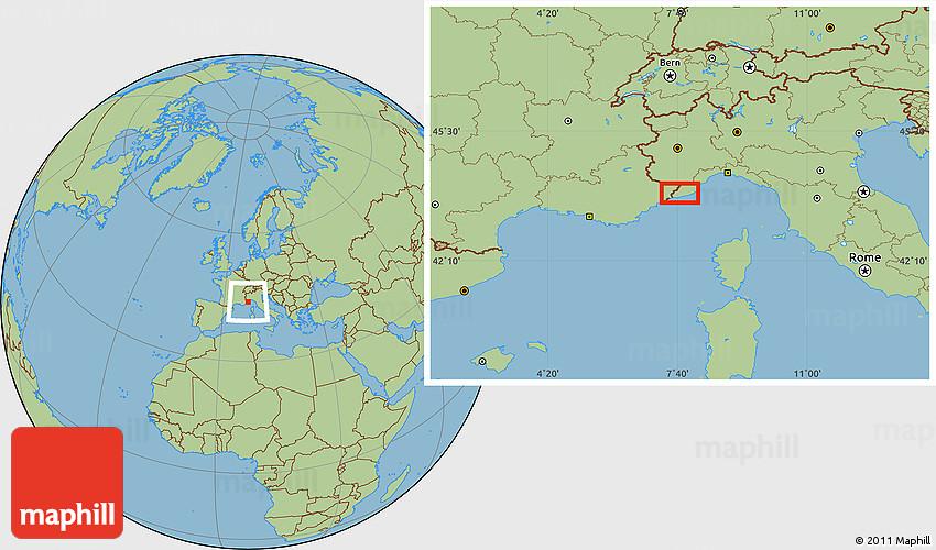 Savanna Style Location Map of MonteCarlo