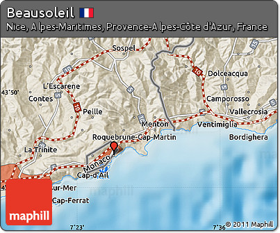 Free Shaded Relief Map of Beausoleil