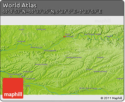 """Physical 3D Map of the Area around 44°19'14""""N,0°55'29""""E"""