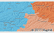 """Political 3D Map of the area around 44°19'14""""N,0°55'29""""E"""