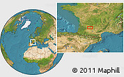 """Satellite Location Map of the area around 44°19'14""""N,0°55'29""""E"""