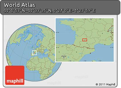 "Savanna Style Location Map of the Area around 44°19'14""N,0°55'29""E"