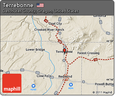 Free Shaded Relief Map of Terrebonne