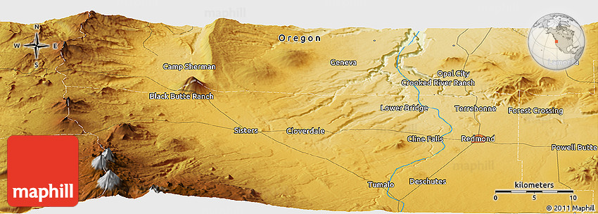 Physical Panoramic Map of Black Butte Ranch
