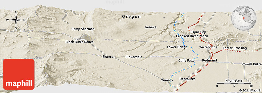 Shaded Relief Panoramic Map of Black Butte Ranch