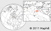 """Blank Location Map of the area around 44°19'14""""N,13°40'30""""E"""