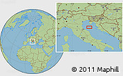 "Savanna Style Location Map of the area around 44°19'14""N,13°40'30""E"