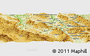 """Physical Panoramic Map of the area around 44°19'14""""N,17°4'30""""E"""