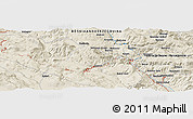 """Shaded Relief Panoramic Map of the area around 44°19'14""""N,17°4'30""""E"""