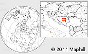 """Blank Location Map of the area around 44°19'14""""N,17°55'29""""E"""