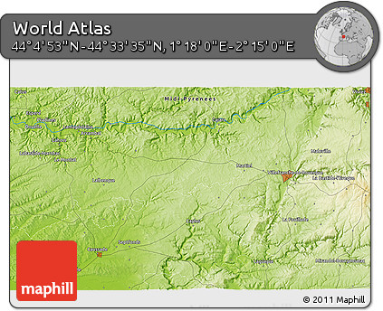 """Physical 3D Map of the Area around 44°19'14""""N,1°46'29""""E"""
