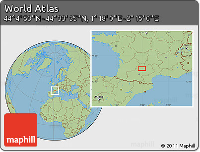 "Savanna Style Location Map of the Area around 44°19'14""N,1°46'29""E"