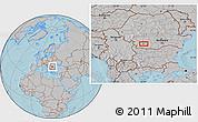 Gray Location Map of Craiova, hill shading