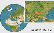 """Satellite Location Map of the area around 44°19'14""""N,24°43'30""""E"""