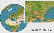 """Satellite Location Map of the area around 44°19'14""""N,25°34'30""""E"""