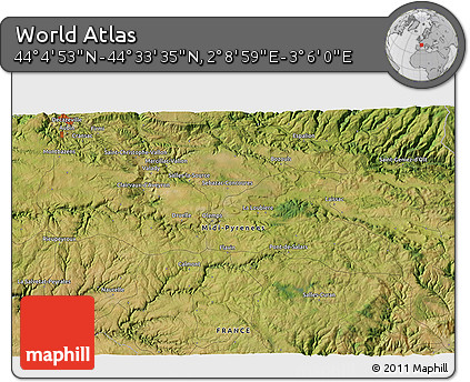 """Satellite 3D Map of the Area around 44°19'14""""N,2°37'30""""E"""